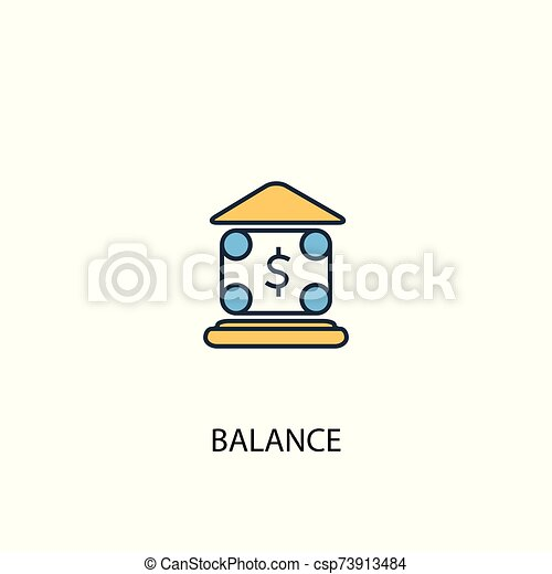 balance concept 2 colored line icon. Simple yellow and blue element illustration. balance concept outline design - csp73913484