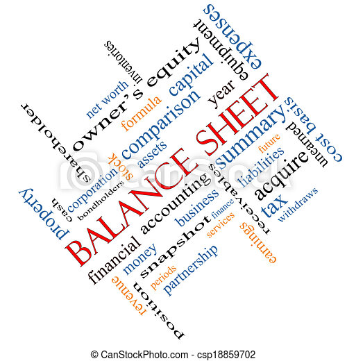 Balance Sheet Word Cloud Concept Angled - csp18859702