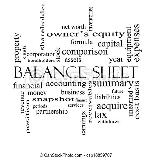 Balance Sheet Word Cloud Concept in black and white - csp18859707