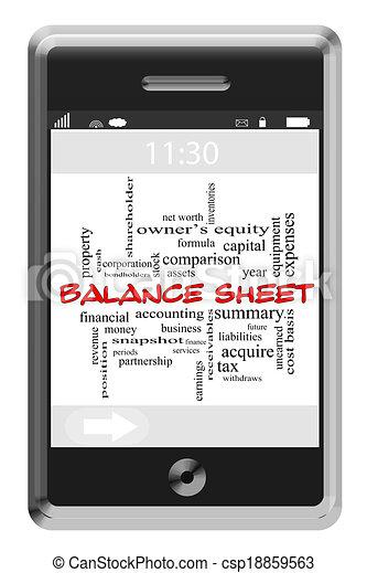Balance Sheet Word Cloud Concept on Touchscreen Phone - csp18859563