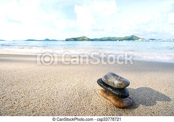 Balance stone on the beach - csp33778721