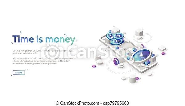 balance, tiempo, dinero, escala - csp79795660
