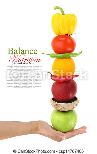 Balanced diet with fruits and vegetables - csp14787465