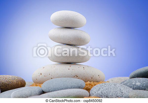 Balanced pebbles with colour background - csp8450092