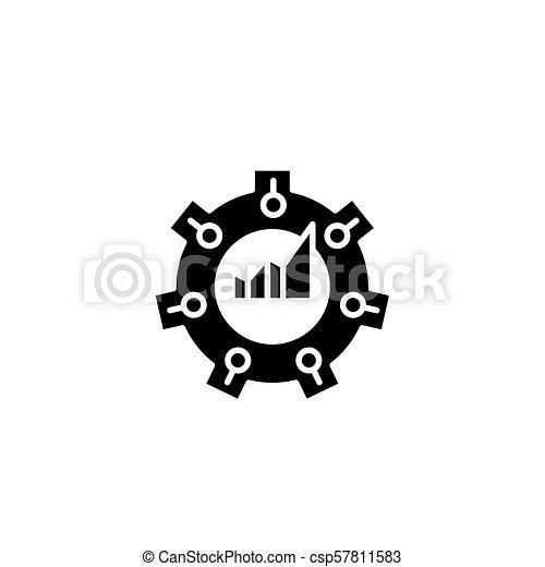 Balanced scorecard black icon concept. Balanced scorecard flat vector symbol, sign, illustration. - csp57811583