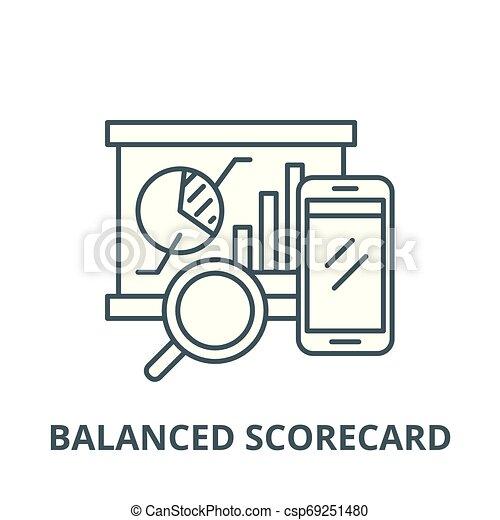 Balanced scorecard vector line icon, linear concept, outline sign, symbol - csp69251480