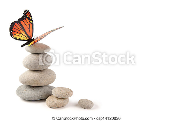 Balanced stones with butterfly - csp14120836