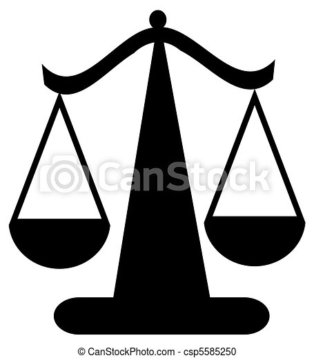balancing scale or scales of justice - csp5585250