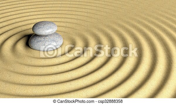 Balancing Zen stones stack from large to small on sand with circular ripples. - csp32888358