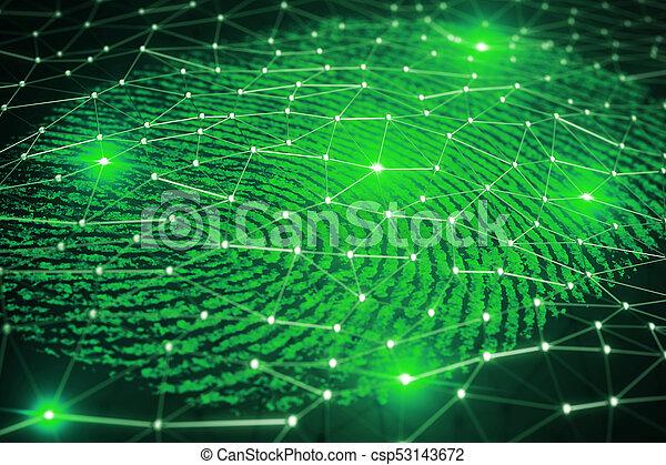 balayage, assurer, access., rendre, empreinte doigt, 3d - csp53143672