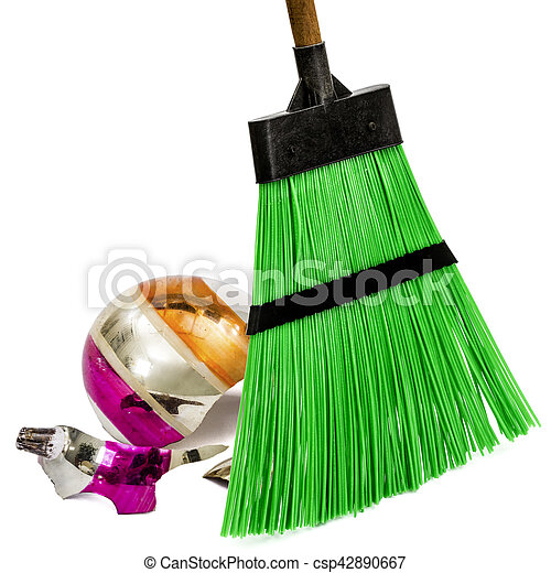 balayage of broken christmas decorations with the help of a broom isolated on white background - Christmas Broom Decoration