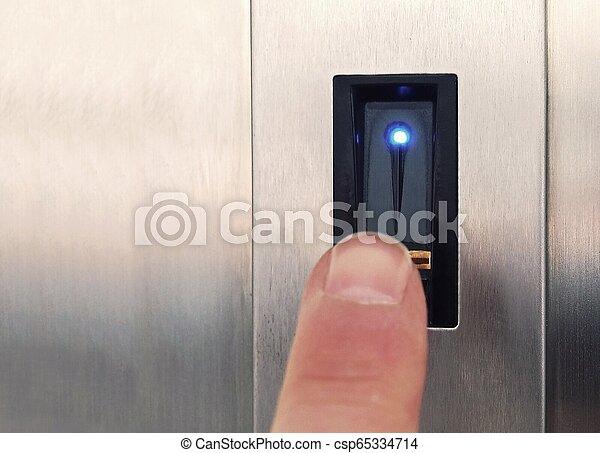 balayage, ouvrir, biometric, doigt, empreinte doigt - csp65334714