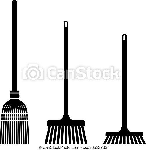 balayage, symboles, balai, noir - csp36523783