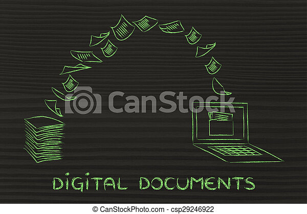 balayage, tourner, il, documents:, papier, numérique, données - csp29246922