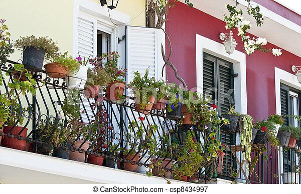 Balcony full with flowers - csp8434997