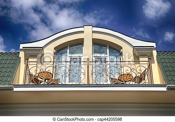 Balcony in attic floor of luxury mansion. - csp44205598 & Balcony in attic floor of luxury mansion. Arch window and balcony in ...