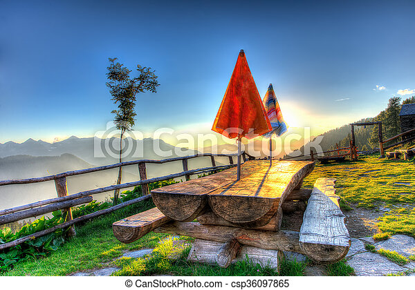 Balcony in the mountains - csp36097865