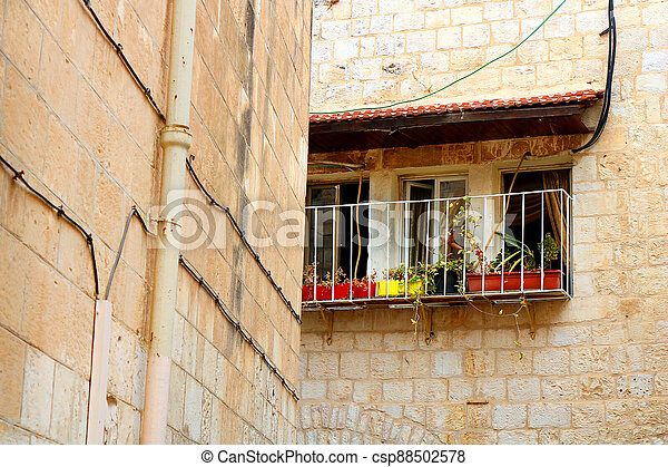 Balcony in The Old City of Jerusalem, Israel - csp88502578