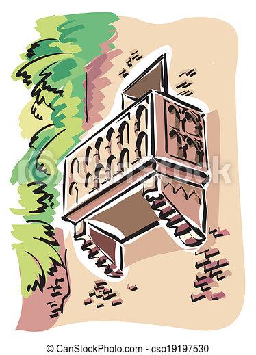 La ilustración del balcón de julieta en verona.