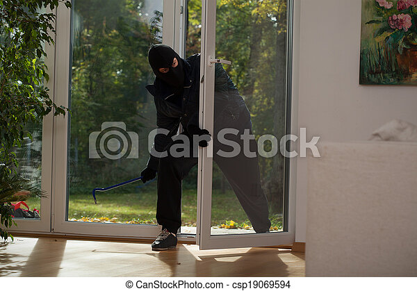 Balcony window burglary - csp19069594