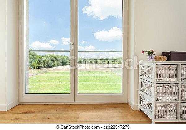Balcony window in village house - csp22547273