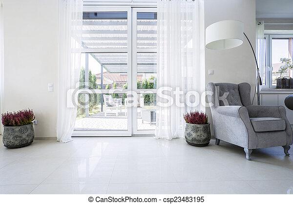 Balcony window with garden view - csp23483195