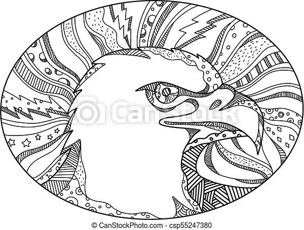 Bald Eagle Head Side OVAL DOODLE