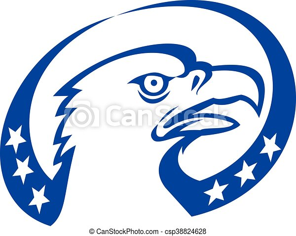 Bald Eagle Head Stars Look Up Retro