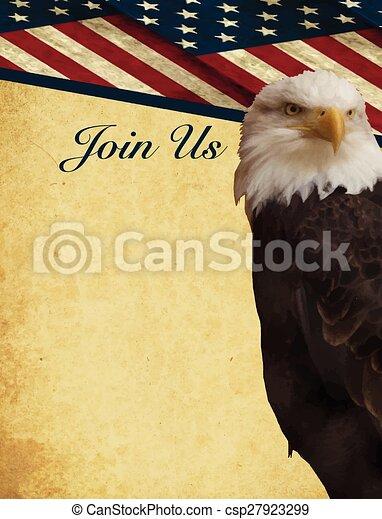 Bald eagle Patriotic invite vector - csp27923299