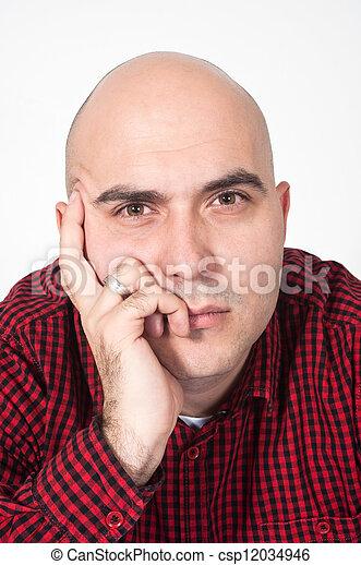Bald man portrait - csp12034946