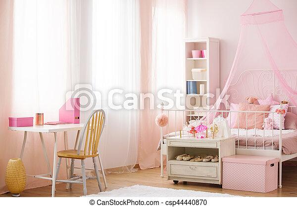 Baldakijn, kind, bed, slaapkamer. Roze, bureau, slaapkamer, bed ...