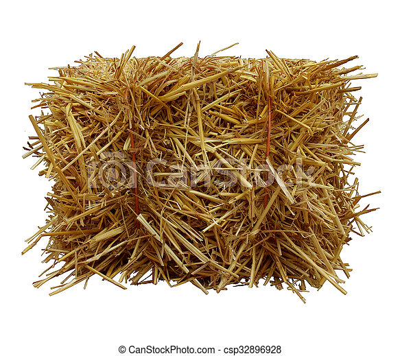 Bale-Of-Hay-Front-View - csp32896928