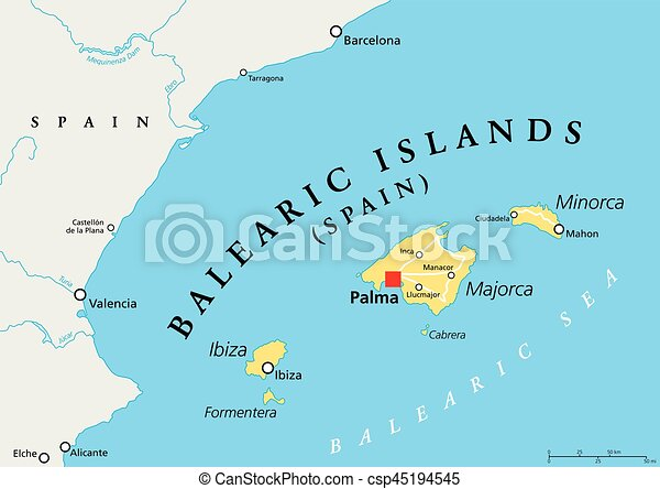 Balearic Islands Political Map With Capital Palma Archipelago Of