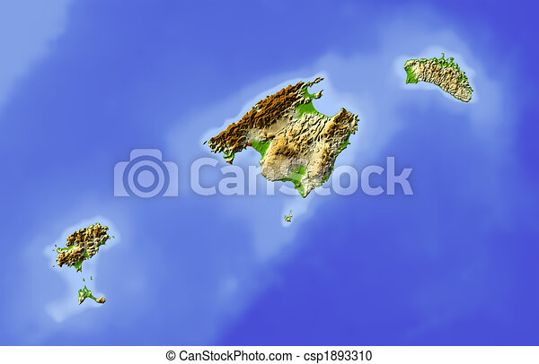 Balearic Islands, shaded relief map - csp1893310