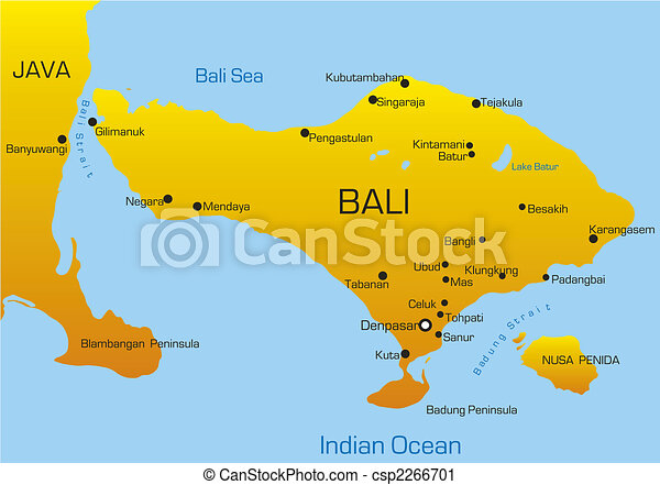 Vector map of bali country.