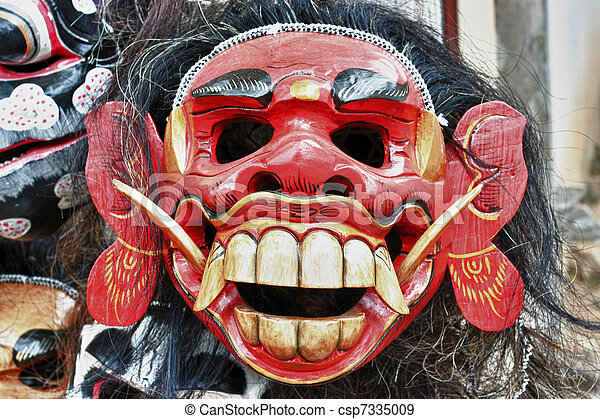 Balinese Mask In A Shop Balinese Red Evil Mask In A Shop