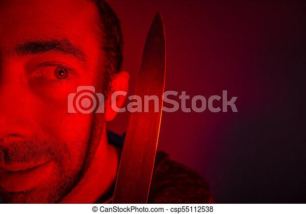 baljós, látszó, closeup, birtok, ember, kés, ő - csp55112538