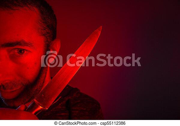 baljós, látszó, fényképezőgép, closeup, birtok, kés, ember - csp55112386
