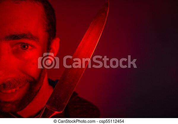 baljós, látszó, fényképezőgép, closeup, birtok, kés, ember - csp55112454