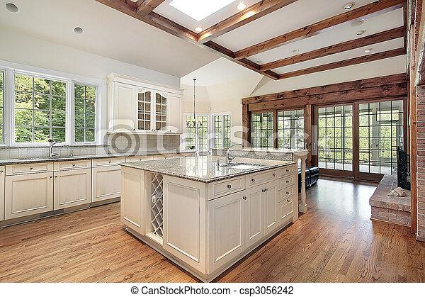Balken, Decke, Holz, Kueche   Csp3056242