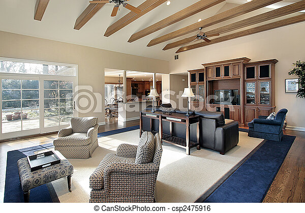 balken, hout, kamer, gezin - csp2475916