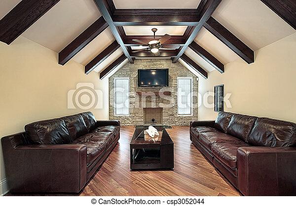 balken, plafond, hout, kamer, gezin - csp3052044