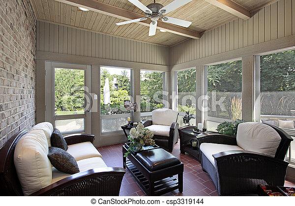 balken, plafond, hout, portiek - csp3319144