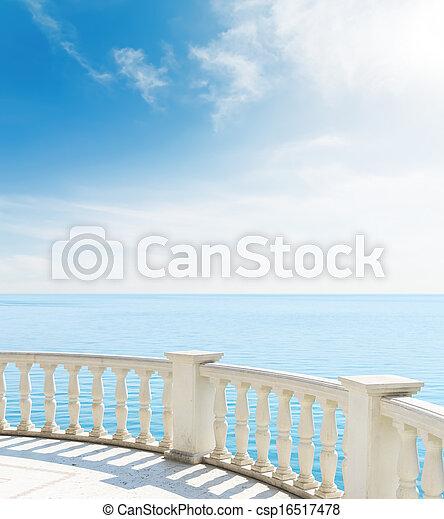 balkon, aanzicht, wolken, zee, onder - csp16517478