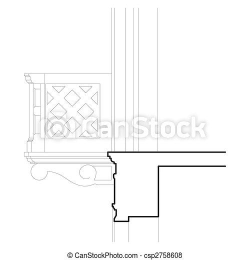 Balkon Detail Zeichnung