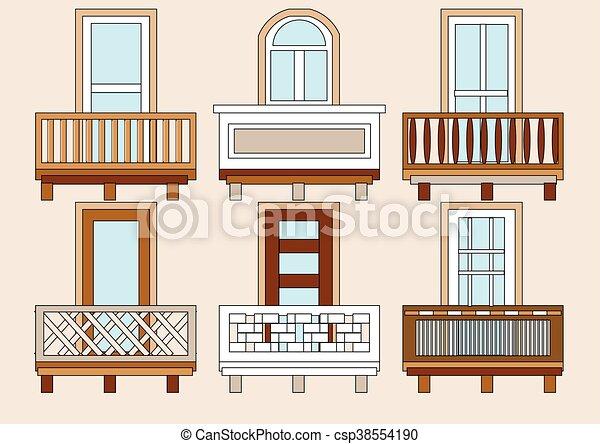Balkon Wohnung Verschieden Satz Klassisch Farbe Balcony