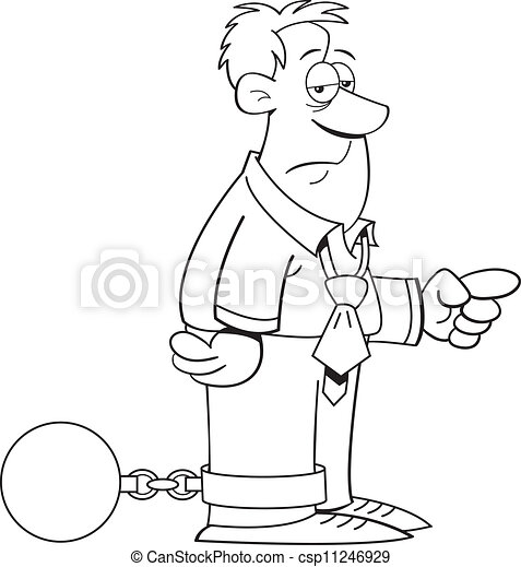 ball and chain man black and white illustration of a man wearing a  ball and chain man csp11246929