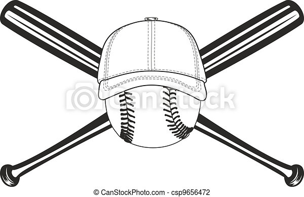 ball and crossed bats the vector image of baseball ball and crossed rh canstockphoto com Crossed Baseball Bats with Baseball Low Crossed Baseball Bats Silhouette