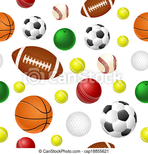 Ball Background Seamless Tile With Sport Balls Vector