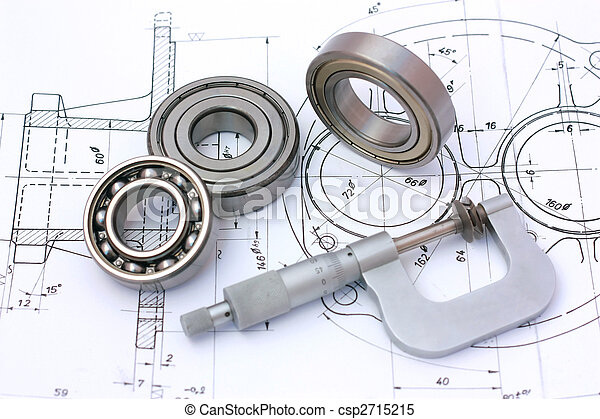 Ball bearings with micrometer on technical drawing - csp2715215